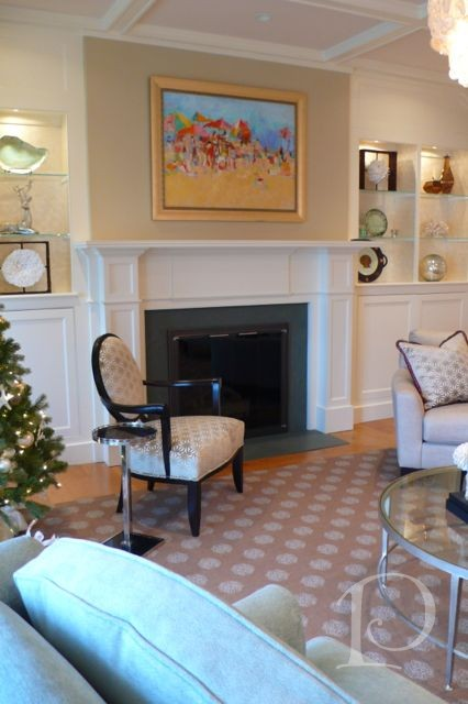 Sandy Welch Beach Painting Over Cape Cod Fireplace With Built Ins