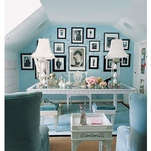light blue white black chic home office
