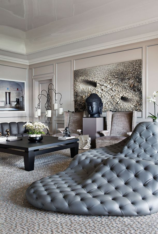tufted deconstructed chaise in living room Pamela
