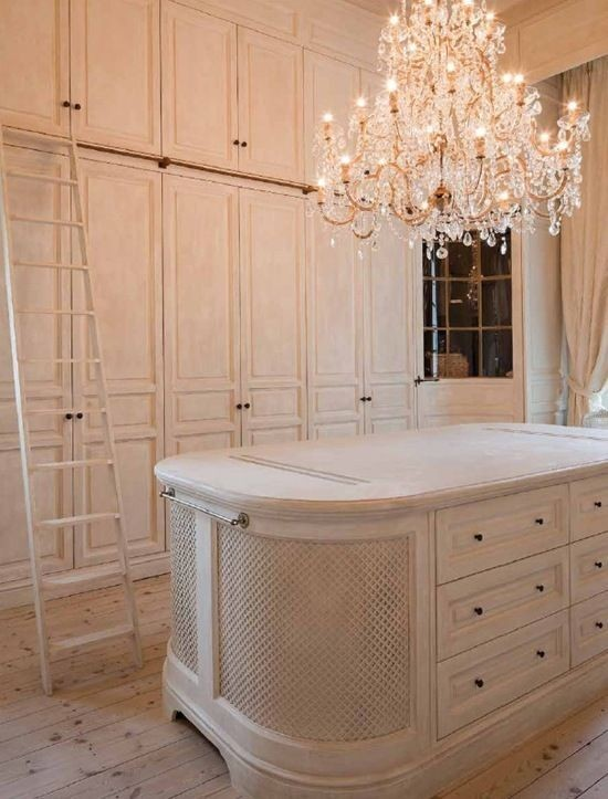 Closet With Amazing Crystal Chandelier