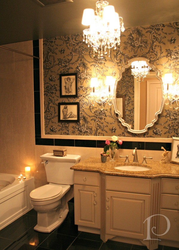 Pamela copeman taupe beige black guest bath for Beige and black bathroom ideas