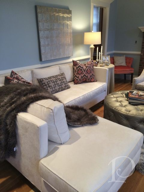 Family Room with Mitchell Gold Bob Williams sectional by Pamela Copeman Design Group