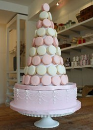 Bobbette Belle macaron tower with base cake