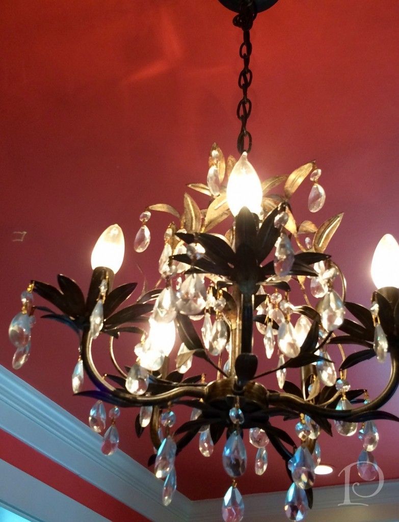 Chandelier with coral ceiling
