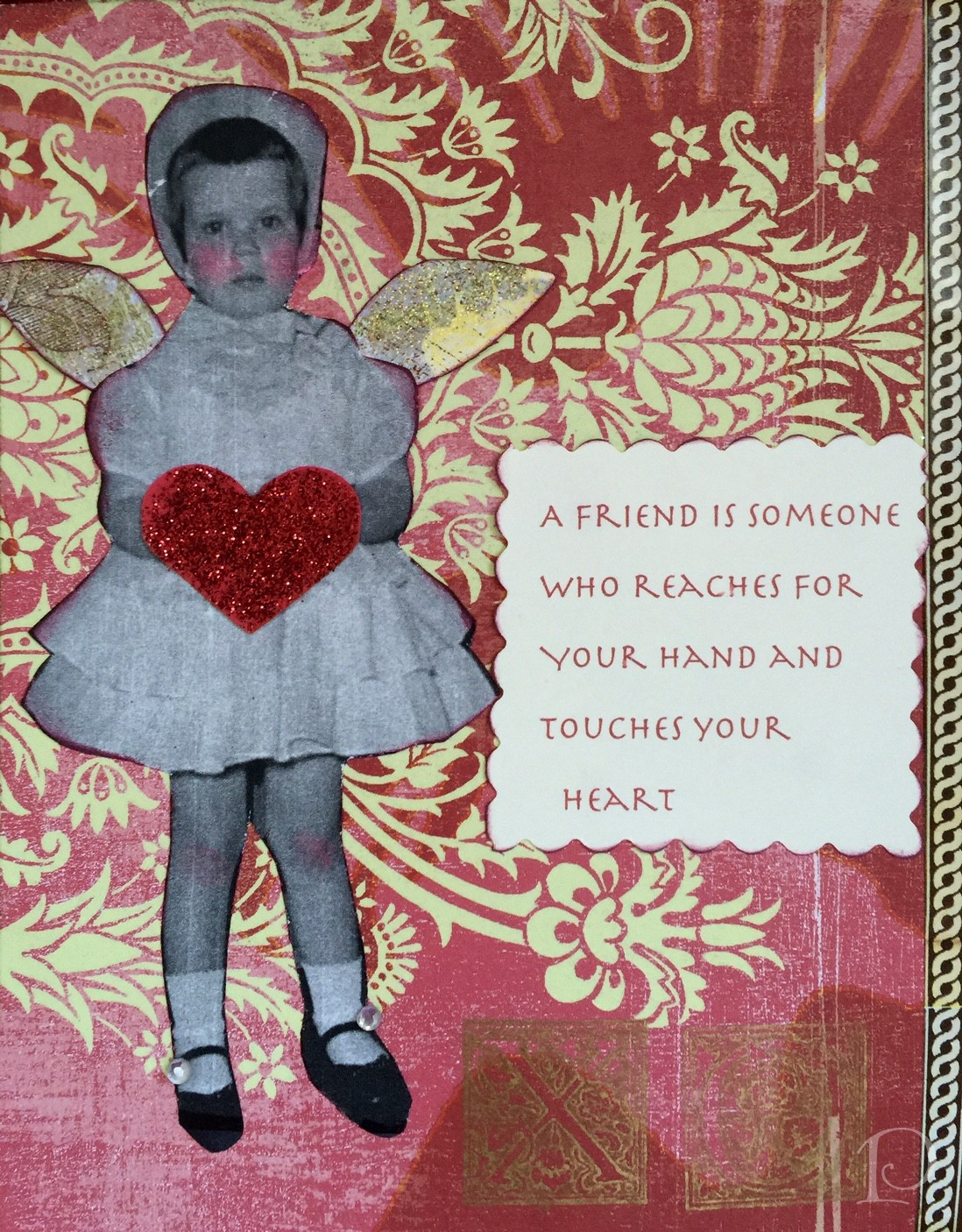 mixed media vintage Valentine card by Pamela Copeman