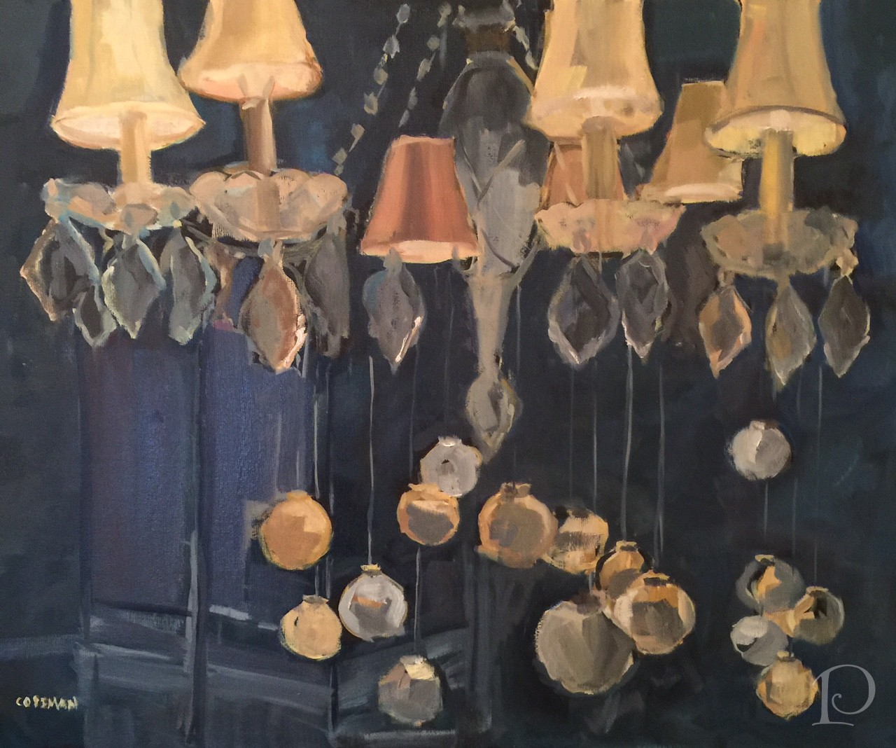 Chandlier with Christmas ornaments painting by Pamela Copeman
