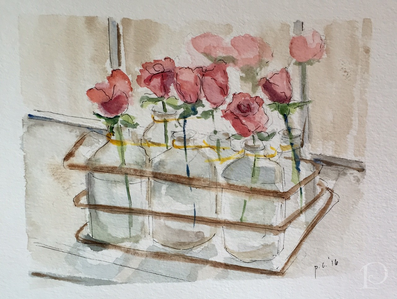 Red Roses in Emilys Kitchen watercolor by Pamela Copeman