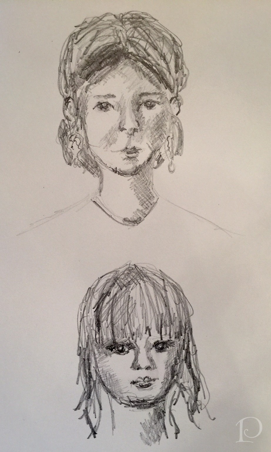 Faces sketches by Pamela Copeman