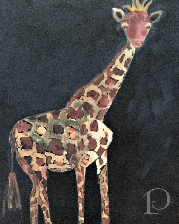 whimsical giraffe painting nursery art