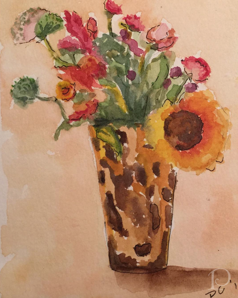 Sunflowers and Zinnias watercolor by Pamela Copeman Art