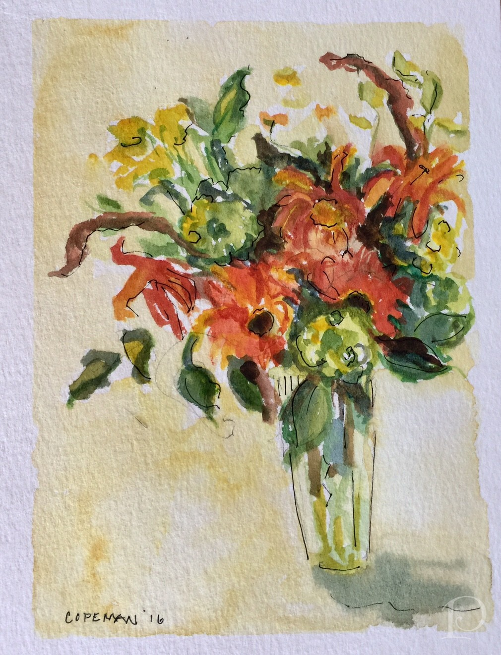 watercolor fall bouquet flowers